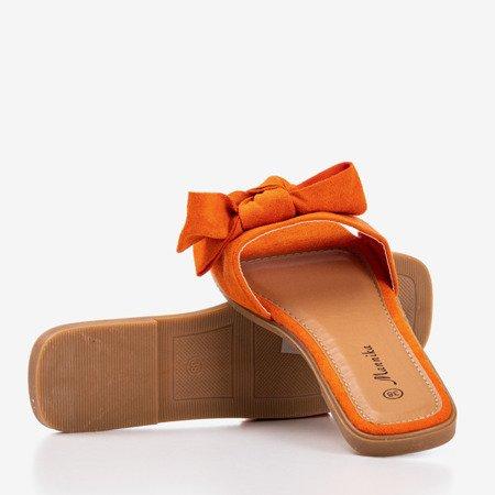 Pomaranczowe klapki damskie z kokardką Mirena - Obuwie