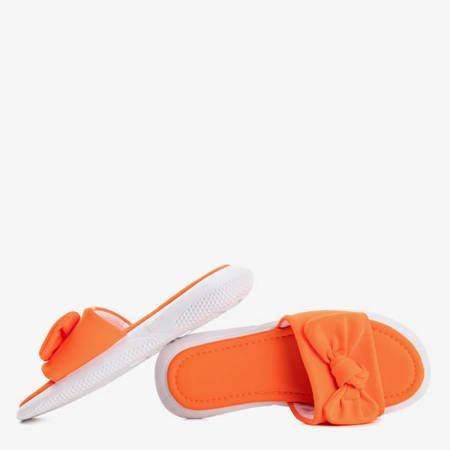 Pomarańczowe klapki z kokardką Brite - Obuwie