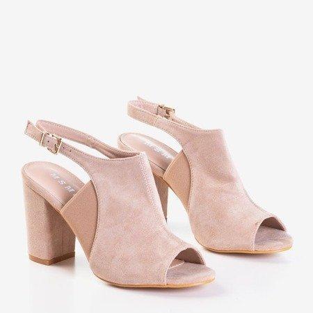 Pudrowe sandały na wysokim słupku Bartom - Obuwie