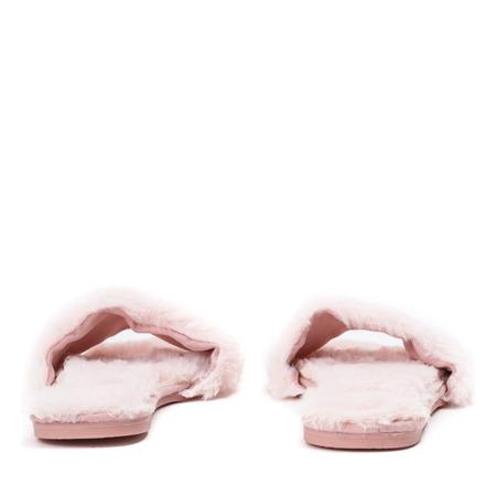 Różowe klapki z futerkiem Brenta - Obuwie