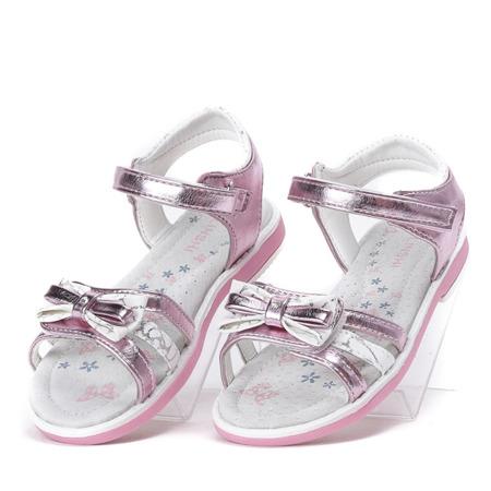 Różowe, metaliczne sandały Cami- Obuwie