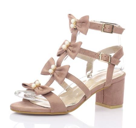 Różowe sandały na słupku - Obuwie