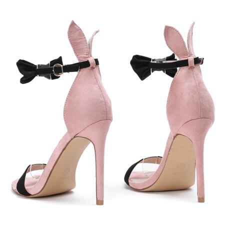 3ac015caf42f1a Kliknij, aby powiększyć; Różowe sandały na szpilce z czarną kokardką i  uszami Poppy - Obuwie