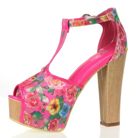 Różowe sandały na wysokiej platformie Florene - Obuwie