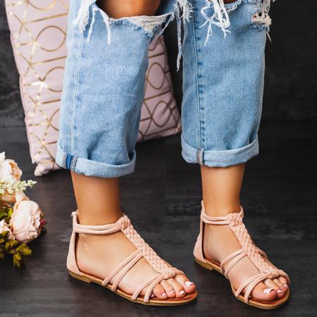 Różowe sandały zapinane na zamek Terecia - Obuwie