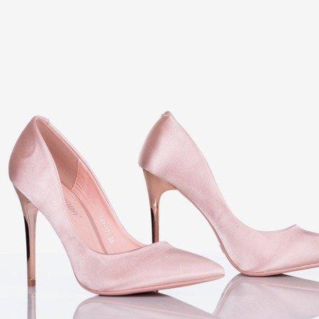 Różowe satynowe szpilki damskie Gold Star - Obuwie