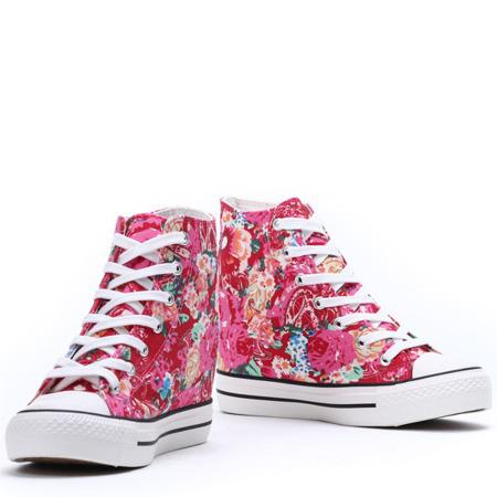 Różowe sneakersy na koturnie - Obuwie