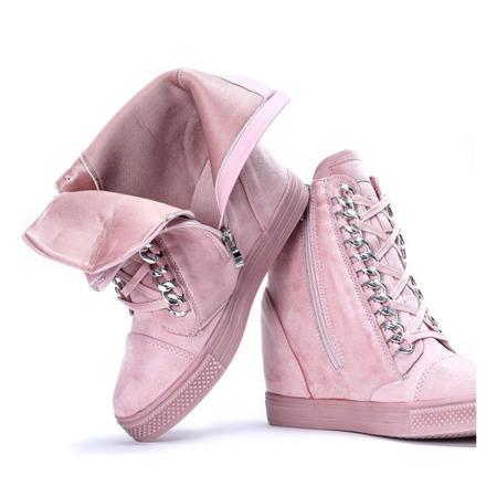 Różowe sneakersy na krytym koturnie Savanetha - Obuwie