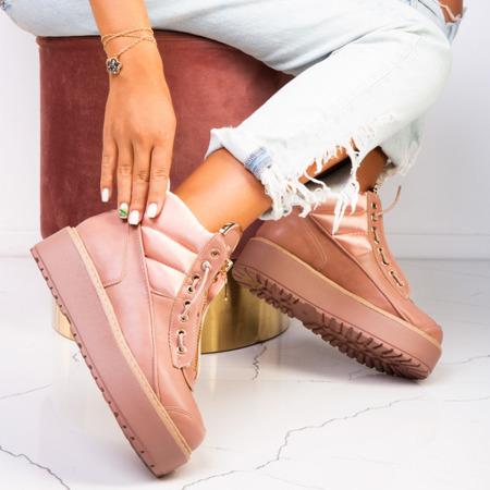 Różowe sportowe botki na platformie Almuterin - Obuwie