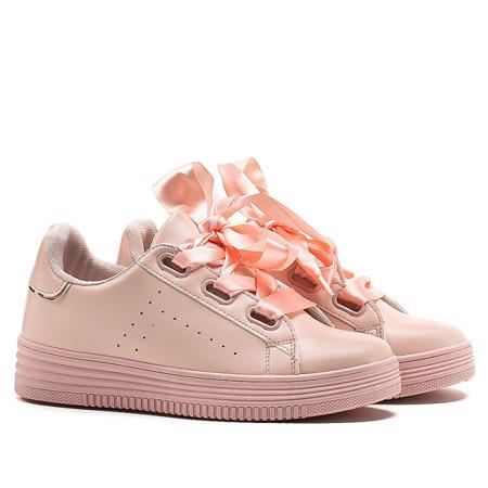 Różowe, sportowe buty z kokardą - Obuwie