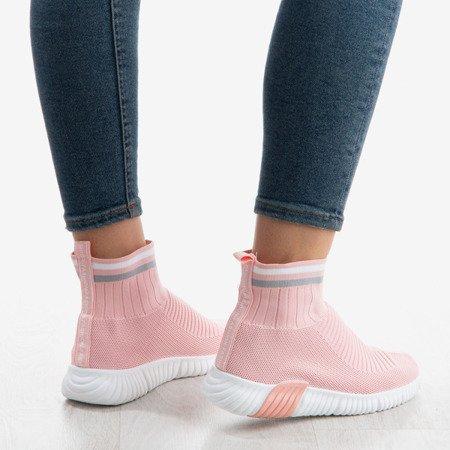 Różowe sportowe buty z ozdobną skarpetką Sallitsa - Obuwie