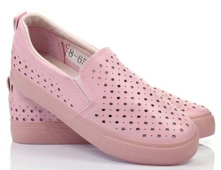 Różowe tenisówki slip on - Obuwie