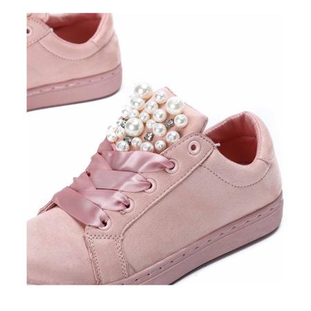 Różowe tenisówki z perełkami i cyrkoniami Cecilyn - Obuwie