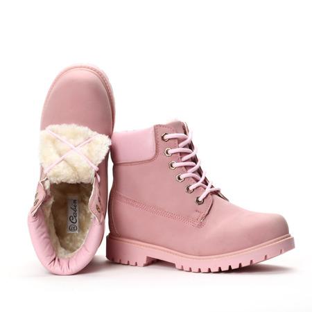 Różowe trapery ocieplane - Obuwie