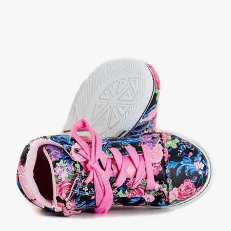 Różowo - czarne dziewczęce sneakersy w kwiaty na koturnie Tutelina - Obuwie