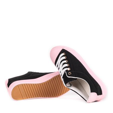 Różowo-czarne trampki damskie Nieves - Obuwie