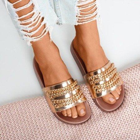 Różowo-złote klapki z łańcuszkiem Sliviena - Obuwie
