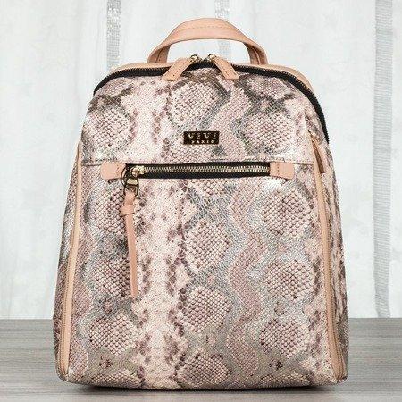 Różowy plecak damski a'la skóra węża - Plecaki