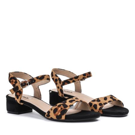 Sandały na niskim słupku w panterkę Joane - Obuwie