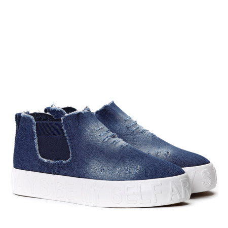 Slip on z cholewką w kolorze ciemnego jeansu- Obuwie