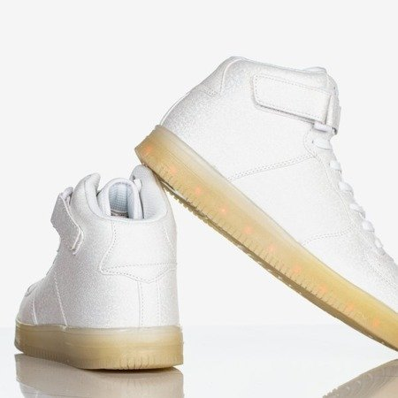 Srebrne damskie buty sportowe świecące Led Girl - Obuwie