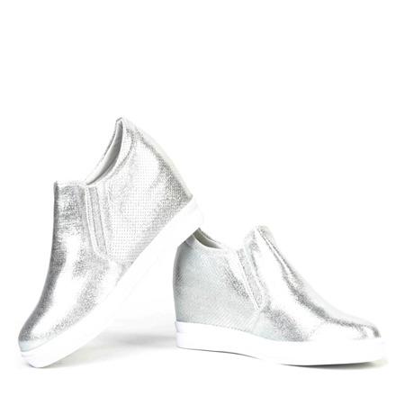 Srebrne sneakersy na krytym koturnie Evita - Obuwie