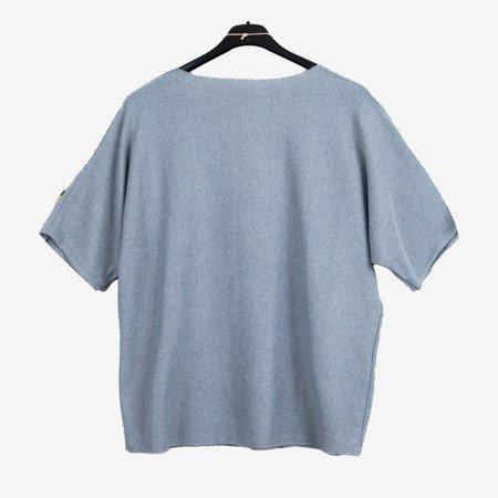 Szara damska bluzka z krótkim rękawem - Odzież