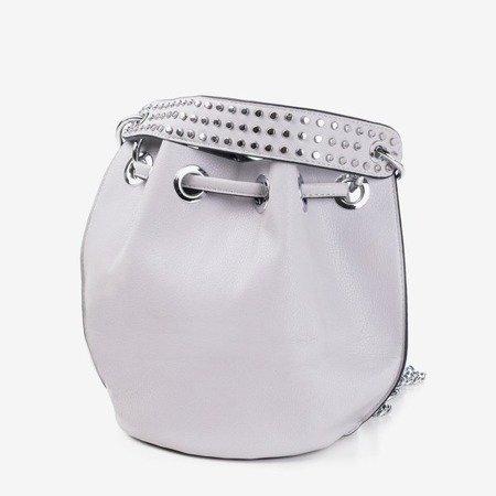 Szara torebka na ramię ze srebrnymi dżetami - Torebki