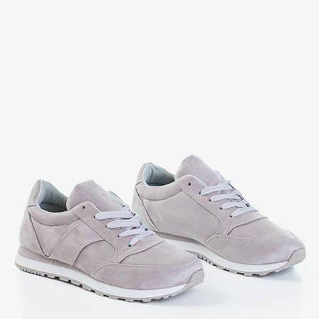 Szare damskie eko-zamszowe sportowe buty Jonema - Obuwie