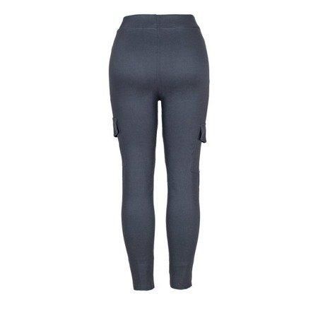 Szare damskie spodnie materiałowe tregginsy - Spodnie