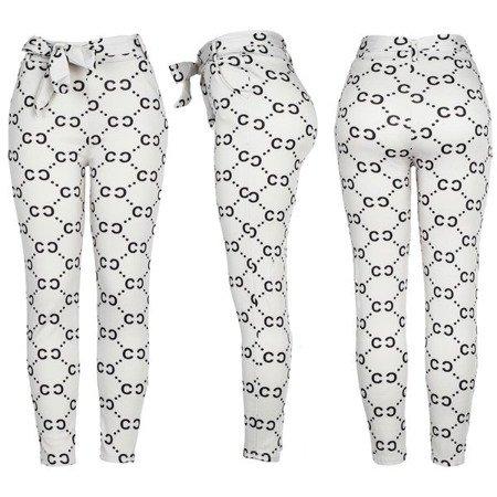 Szare legginsy z czarnym printem - Spodnie