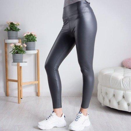 Szare legginsy z wysokim stanem - Spodnie