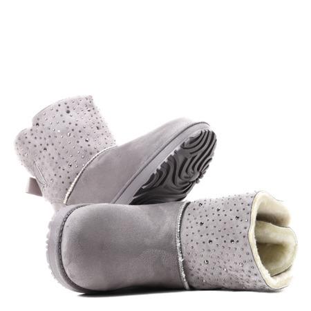 Szare ocieplane śniegowce Kati - Obuwie
