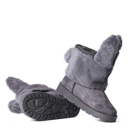 Szare, ocieplane śniegowce z uszami królika - Obuwie
