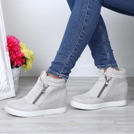 Szare sneakersy na koturnie Velicienta - Obuwie