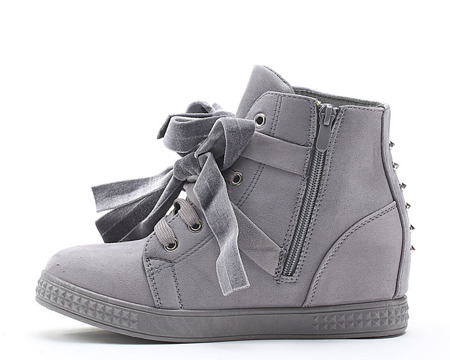 Szare sneakersy na koturnie z ćwiekami - Obuwie