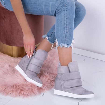 Szare sneakersy na krytym koturnie Oh Little Girl - Obuwie