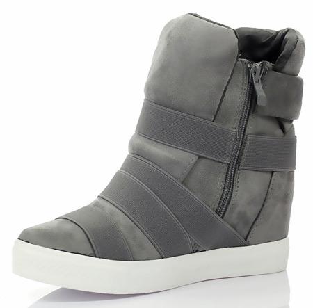 Szare sneakersy z ozdobnymi paskami - Obuwie