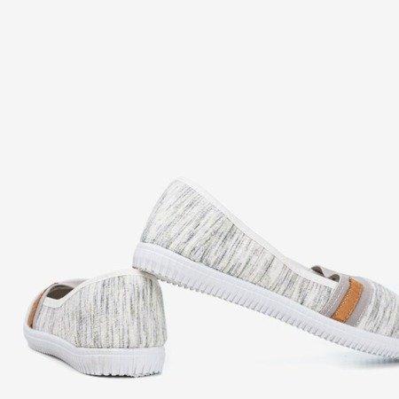 Szare tenisówki slip - on z paseczkami Arimida - Obuwie