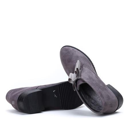 Szare zamszowe botki Seanna - Obuwie