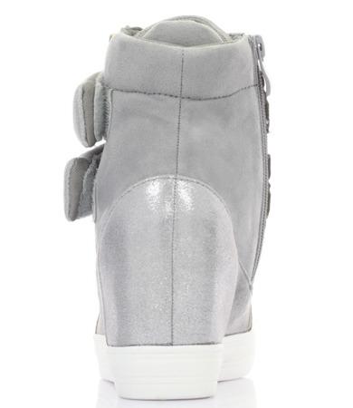 Szare zamszowe sneakersy na koturnie - Obuwie