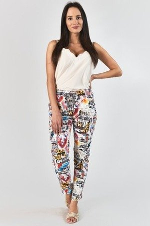 Wielokolorowe materiałowe spodnie z nadrukiem - Odzież