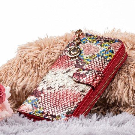 Wzorzysty portfel damski a'la skóra węża w kolorze różowym - Portfel