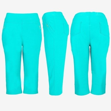 Zielone legginsy krótkie ze ściągaczem - Spodnie