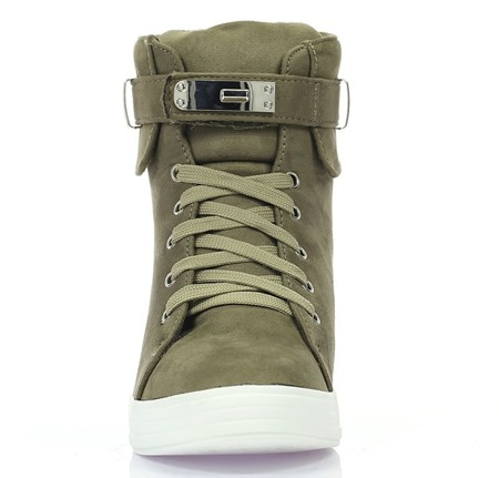 Zielone sneakersy na koturnie Jolie- Obuwie