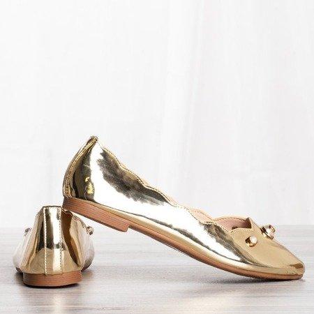 Złote baleriny z ozdobami Kassy - Obuwie