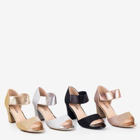 Złote damskie sandały na wyższym słupku Megsa - Obuwie