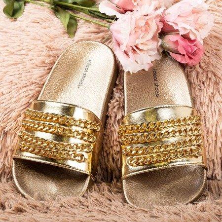 Złote klapki z łańcuszkiem Sliviena - Obuwie