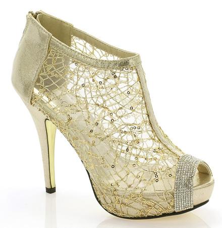Złote sandały z ażurową cholewką - Obuwie
