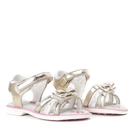 Złoto-białe sandały dziewczęce Linette- Obuwie